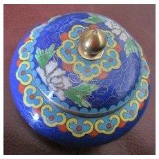 Chinese cobalt cloisonne covered ring holder