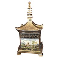 Asian Pagoda shaped Treasure box with handpainted scenics