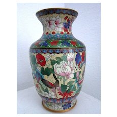 Vintage Chinese cloisonné vase with butterflies and flowers