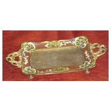 Enamel on brass footed perfume tray with ornate handles
