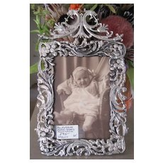 Victorian silverplate picture frame dragons and mermaids