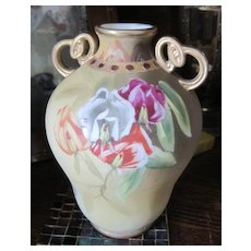 Nippon vase hand painted with sweet peas and golden accents