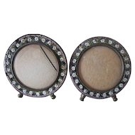 Pair of tiny Micro Mosaic round picture frames from Italy