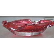 Italian cranberry glass ashtray with bubbles in the glass