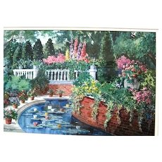 Framed watercolor of a lush garden by Donald L. Dodrill