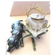 Figural Folk Art doggie inkwell with antlers for pen rest