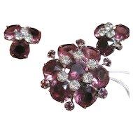 Kramer set of pink and purple rhinestone pin & earrings