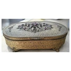 Vintage Gilt and Jeweled dresser box of unusual large size