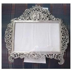 Decorative sterling scenic picture frame with easel back
