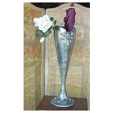 French Arts & Crafts Pewter Umbrella stand with flower & walnuts