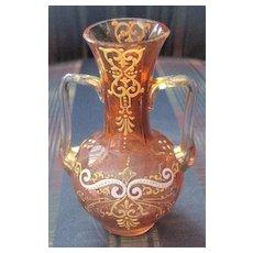 Antique miniature Moser peach glass vase heavily enameled