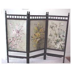 Antique English Victorian Handpainted Floral three part fire screen