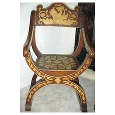 European pyrographic wood burned man's chair with dragon motif