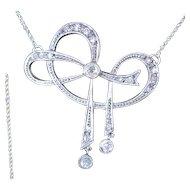 Platinum and diamond Art Deco stylized bow necklace