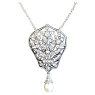 Mid European 18K necklace with pendant 1.35 ct. diamonds