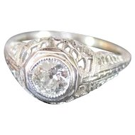 Tested 18k white gold solitaire filagree engagement ring