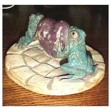 Colorado Art Pottery frog card receiver by Laurie Hettig