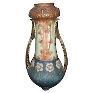 Austrian Imperial Amphora scenic vase with jeweled flowers