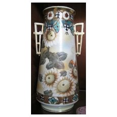 Imperial Nippon hand painted vase with sunflowers