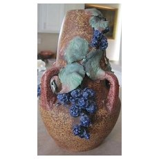 Czech Amphora Art Deco Vase with applied blueberries
