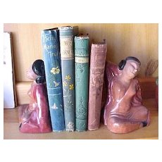 Figural pottery bookends of Mexican ladies
