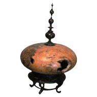 Rare lathe turned spirit vessel by Bruce Bernson buckeye & ebony