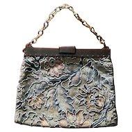 Museum quality vintage Art Deco steel cut bead and brocade handbag