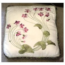 Decorative pillow made from all vintage fabrics.violets and greens