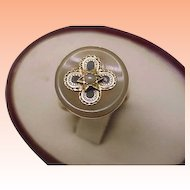 Incredible works of Art Antique Victorian 10k Yellow Gold  Genuine Agate & Seed Pearl Magen David Star Enameled Ring