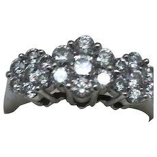 Estate Vintage 14K White Gold 1.20cttw Diamonds  Ladies Ring