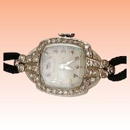 Estate Platinum 34 Old European Cut Diamond Hamilton Watch, 10.6gr