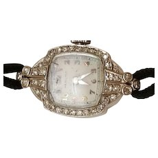 Estate Platinum 34 Old European Cut Diamond Hamilton Watch, 10.6gr