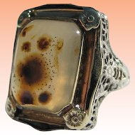 Antique Estate Gothic Victorian Large over 10 carats Agate 14K Gold Enamelled Filigree Ring