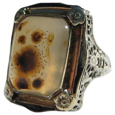 Antique  Gothic  Large over 10 carats Agate 14K Gold Enamelled Filigree Ring