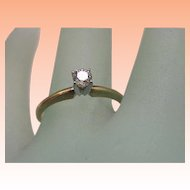 Estate 14k Yellow Gold Engagment .25ct Old european cut Diamond Ring,1930's