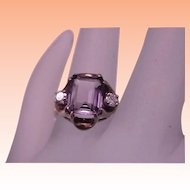 Estate Vintage  10k Yellow Gold Amethyst Diamond Ring