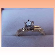 Estate 14k Yellow Gold Engagment Solitaire Brilliant Cut .50ct Diamond Ring