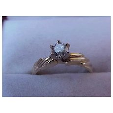 Estate 14k Yellow Gold Engagment Solitaire Brilliant Cut .50ct Diamond Ring