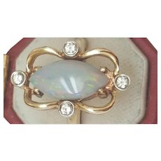 Estate Vintage  14k Yellow Gold Ring with 3.20ct Diamonds and Finest Genuine Australian Opal