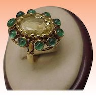 Unique Estate Vintage  18k Yellow Gold Genuine Huge Citrine Emerald Ring