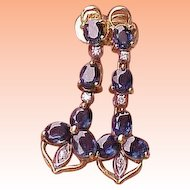 Estate 585 (14kt) 2-Tone Gold 3.00ct  Diamonds & Sapphires Earrings