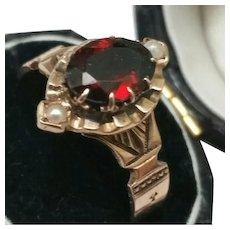 12K Rose Gold Antique Victorian Genuine Garnet & Pearl Ring, 1800s