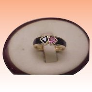 Vintage Estate Art Deco 14K Yellow Gold Genuine Pink Tourmaline And Blue Sapphire Black Enamel Ring, 1950s
