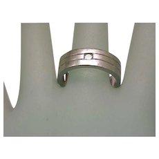 Estate Vintage  Unisex 14K White Gold  Diamond Wedding Ring Band, Heavy 10gr , Size 9
