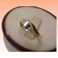 Estate 14k Yellow Gold .66cttw Marquise Diamond Engagement Ring