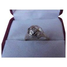 Vintage  2-Tone 14k Gold Filigree Diamond Ring,early 1900s