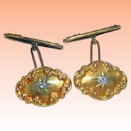 Victorian 14K Yellow Gold .25carats Old Cut VS Diamonds Cufflinks VS-2 , 1860s