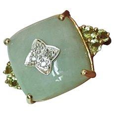 Estate Art Deco 10K Yellow and White Gold RING: Genuine Jade , Peridot & Diamonds ,Circa 1930's