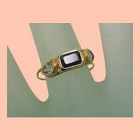 Unique Art Deco 14K Yellow Gold Genuine Aquamarines & Genuine Green Tourmaline Ring,early 1900s