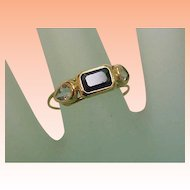 Unique Art Deco 14K Yellow Gold Genuine Aquamarines & Genuine Green Tourmaline Ring,early 1900s
